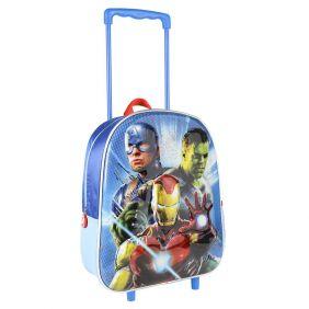 Mochila Carro Infantil 3D Metalizada Avengers 31 Cm