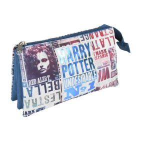 Estuche Portatodo Plano 3 Compartimentos Harry Potter  22cm