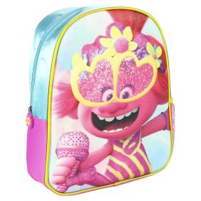 Mochila Infantil 3D Premium Glitter Trolls 31 Cm