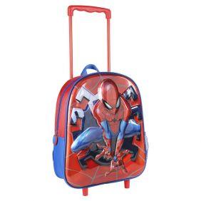 Mochila Carro Infantil 3D Metalizada Spiderman 31 Cm