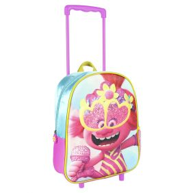 Mochila Carro Infantil 3D Glitter Trolls 31 Cm