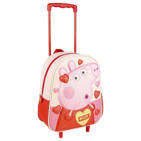 Mochila Carro Infantil 3D Glitter Peppa Pig 31 Cm