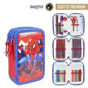 Plumier Triple Giotto Premium Metalizada Spiderman 19 Cm