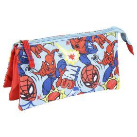 Estuche/Portatodo Plano 3 Compartimentos Spiderman 12 Cm