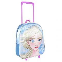 Mochila Carro Infantil 3D Lentejuelas Frozen 2 31 Cm