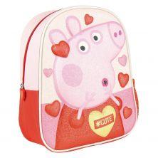 Mochila Infantil 3D Premium Glitter Peppa Pig 31 Cm